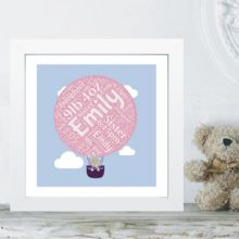 Framed Bunny In Balloon Word Cloud - Ideal Christening/Naming Day Gift or Nursey Artwork